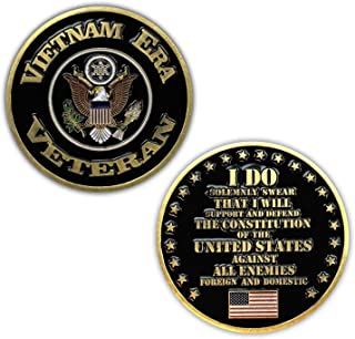 Vietnam Era Veteran Challenge Coin with Eagle Insignia and Oath of Enlistment