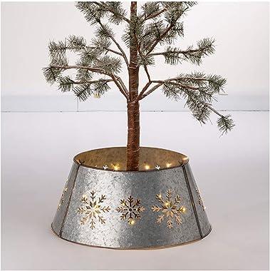 "Glitzhome Snowflake Diecut Galvanized Tree Collar Metal Tree Skirt for Christmas Decor 21"" D"