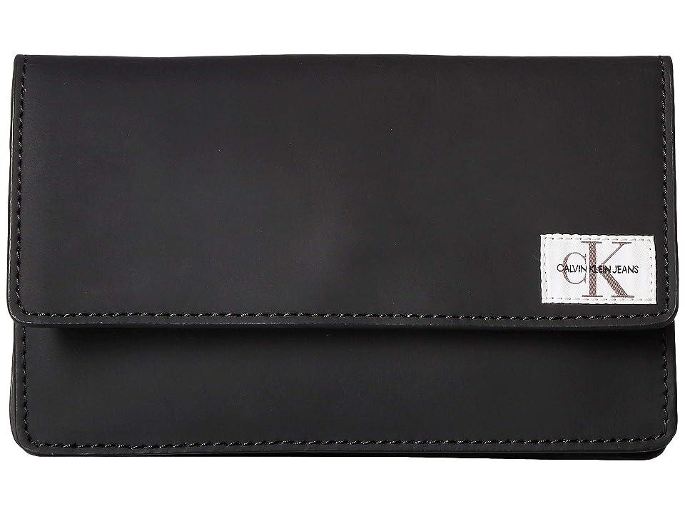 Calvin Klein Rubberized Leather Belt Bag (Black/Black/Polished Nickel) Women
