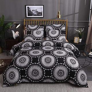 XLLJA påslakan 2 kuddöverdrag, 3D böhmisk etnisk stil påslakan set Single Double King Size Print sänglakan set Black_228 x...
