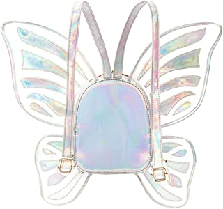 Women's Laser Holographic Backpack Butterfly Angel Wings Daypack Travel Casual Satchel For Girls