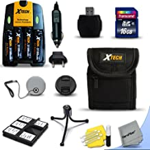 Ideal Accessory Kit for Canon Powershot A720 IS, A710 IS, A2100 IS, A2000 IS, A1400 , A1300 , A1200 , A1100 IS , A1000 IS, A810, A800, SX3 IS, A700, A650, A640, A630, A620, A610, A570 IS, A560, A550, A540, A530, A520, A510 Digital Cameras Includes 16GB High Speed Memory Card + 4 AA High Capacity 3100mAh Rechargeable Batteries with Quick AC/DC Charger + Padded Medium size Case + Universal Card Reader + Mini Table Tripod + Memory Case Holder + Screen Protectors + Deluxe Cleaning Kit + Lens Cap Holder + Ultra Fine HeroFiber Cleaning Cloth