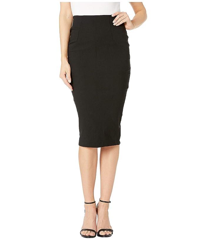 Unique Vintage Stretch High-Waist Tracy Wiggle Skirt (Black) Women