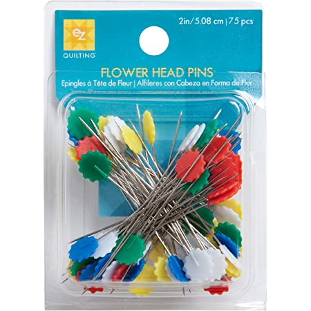 Wrights 881428 Flower Head Multicolor Pins, 75-Pack