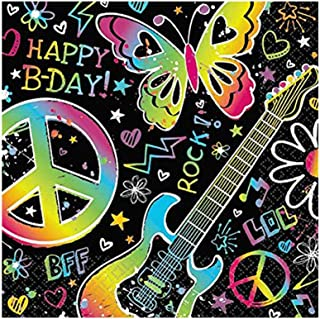 """Amscan Groovy Neon Doodle Birthday Party Beverage Napkins Tableware (16 Pack), 5"""" x 5"""", Multicolor"""