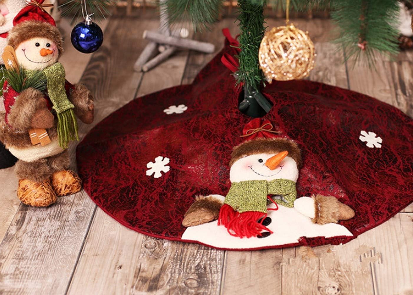 """Falda de /árbol de Navidad Delantal Tridimensional con Viejo y mu/ñeco de Nieve para el /Árbol Decoraci/ón Casa para Navidad Fiesta Vacaciones Color : Snowman NIUFGC 60cm//27/"""" Falda de /Árbol de Navidad"""