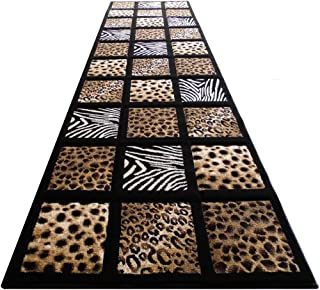 Sculpture Animal Prints Rug Runner 32 Inch X 7 Feet 251 Black