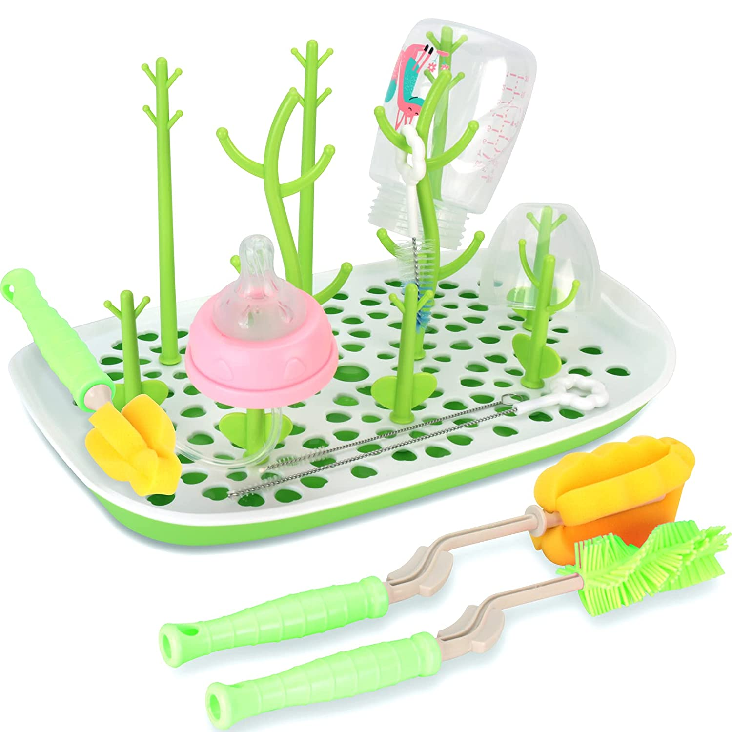 Baby Bottle Drying Rack with 6 Pcs Special Popular overseas sale item Hi Cleaning Set Brush