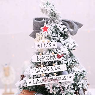 RINKOUa Christmas Tree Decorations,Christmas Xmas Wooden Hanging Ornament Patterned Hanging Accessories Supplies or Home Decor Festival Wedding Craft Gifts (White)