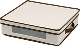 Household Essentials Vision Storage Box for Charger Plates / Platters with Lid and handles, Natural Canvas with Brown trim