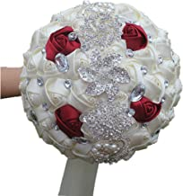 DOTKV Wedding Bouquet, Artifical Rose Posy with Satin Jeweled Throw Bouquet, Bridesmaid Holding Flowers,Wedding Bouquets Silk Flower, Wedding Memories Forever(Ivory+Red)