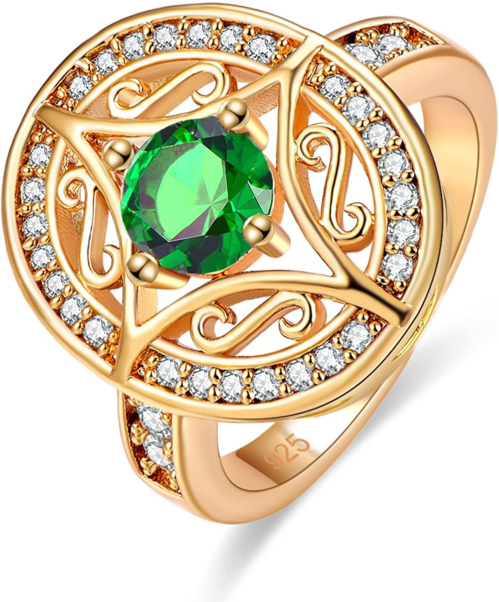 Psiroy Yellow Gold Plated Created Rainbow Topaz Art Deco Statement Ring for Women