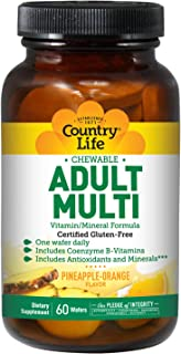 Country Life Adult Multi Vitamin/Mineral Formula - 60 Wafers | Includes Coenzyme B-Vitamins | Pineapple Orange Flavor