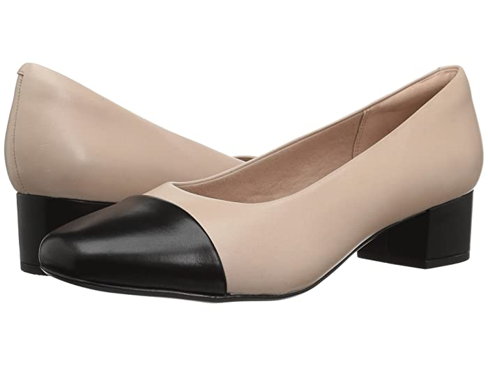 Clarks  Chartli Diva (Nude Pink/Black Leather Combination) Womens  Shoes