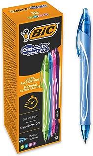 BIC Gel-ocity Quick Dry - Caja de 12 unidades, bolígrafos de Gel de punta media (0,7mm), colores surtidos