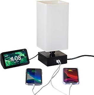 Luminária de mesa USB, carga ultra rápida, 2.4A. 2 portas e tomada. Preta c/cúpula linho