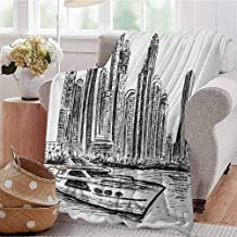 Luoiaax Sketchy Commercial Grade Printed Blanket New York Manhattan Cityscape Hand Drawn Style Skyscrapers Modern Boat on River Queen King W70 x L84 Inch Black White