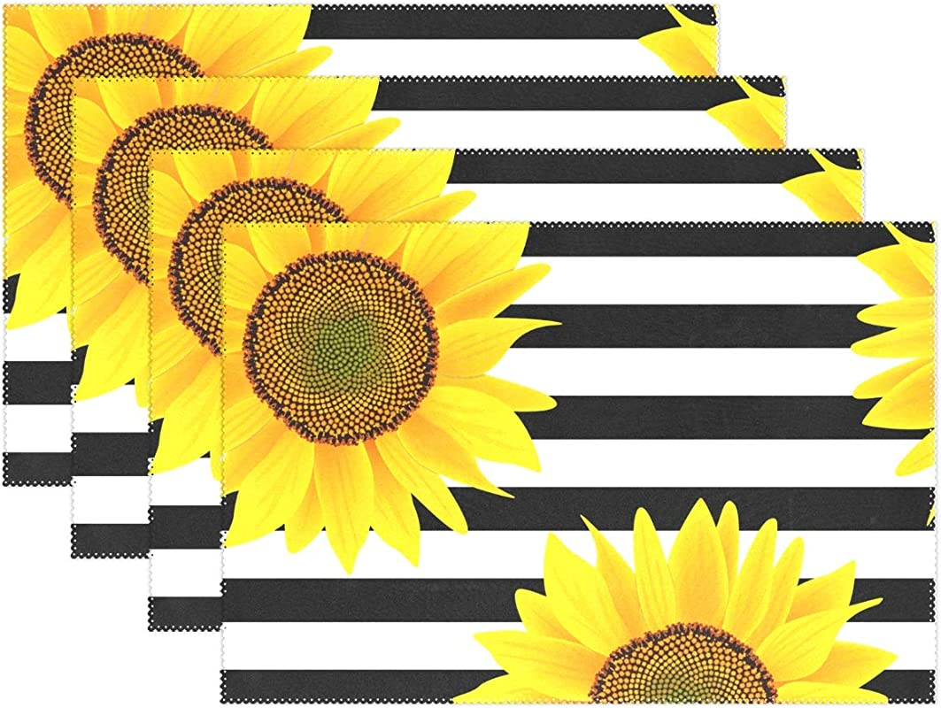 Jereee Black White Striped Sunflower Set Of 6 Placemats Heat Resistant Table Mat Washable Stain Resistant Anti Skid Polyester Place Mats For Kitchen Dining Decoration