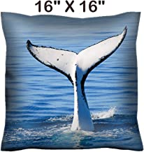 Liili 16x16 Throw Pillow Cover - Decorative Euro Sham Pillow Case Polyester Satin Soft Handmade Pillowcase Couch Sofa Bed Humpback Whale in Australia Image ID 12454372