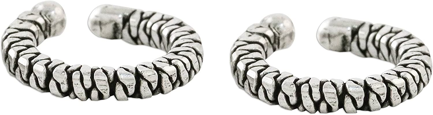 NOVICA Max 50% OFF Set of 2 .925 Sterling Ear Earthy Cuffs B Our shop most popular Silver Braided