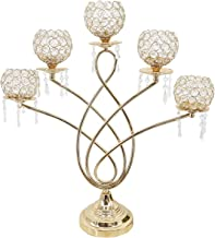 Fenteer 5 Arm Crystal Candle Holders Candelabras Decorative Centerpieces Tea Light Candle Stand for Party Decor