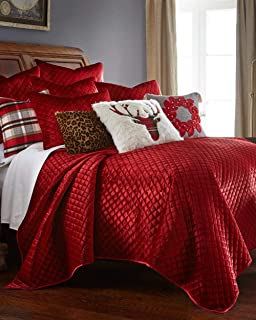 Luxury Velvet Soft Diamond Quilted Textured Holiday Red Quilt Set Bedding Full Queen