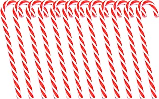 Boieo Plastic Candy Canes Christmas Tree Hanging Ornaments, 12pcs (Red+White)