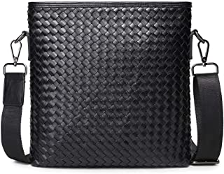 LZRDZSWYXGS Black Saturated Hand-Woven Bag Men's Upstanding Square Shoulder Messenger Bag Business Casual Suitable for outings/Hiking/Schools