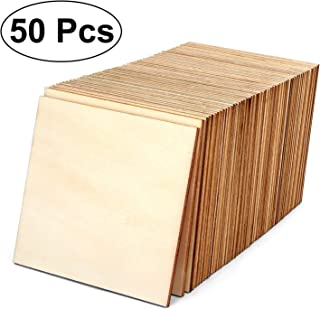Blisstime 4 Inch Unfinished Wood Squares Pieces Natural Wood Coasters Wooden Square Cutouts for Painting, Writing, DIY Supplies, Engraving and Carving, Home Decorations (50)