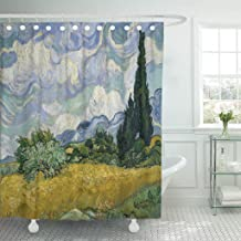 Emvency Shower Curtain Wheat Field Cypresses by Vincent Van Gogh 1889 Dutch Waterproof Polyester Fabric 60 x 72 Inches Set with Hooks