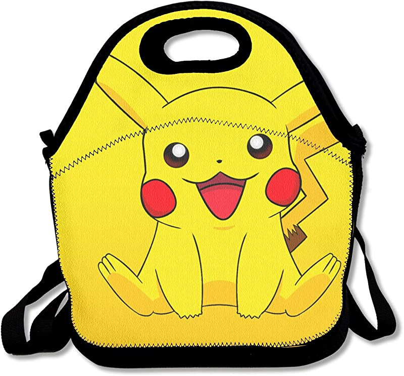 WSXEDC Lunch Bag Smile Pikachu Printing Handbag With Adjustable Shoulder Strap For Picnic School