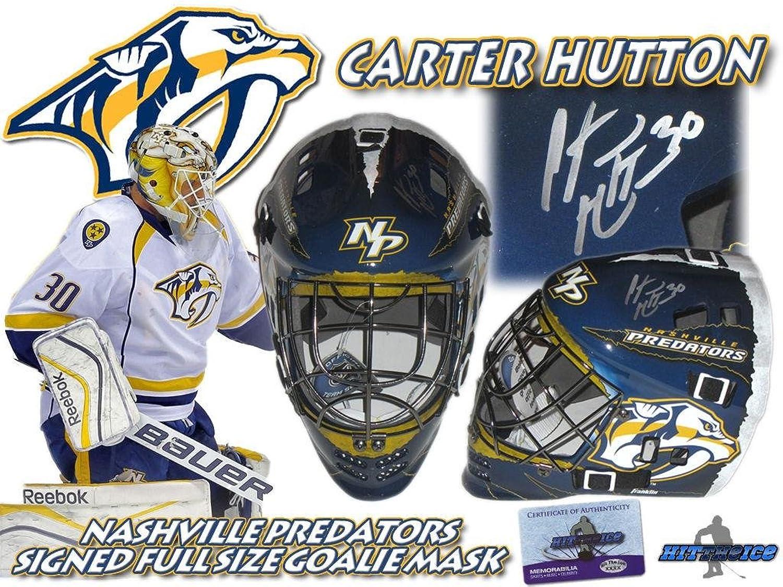 Carter Hutton Signed Nashville Predators Full Size Goalie MASK w COA  Autographed NHL Helmets and Masks
