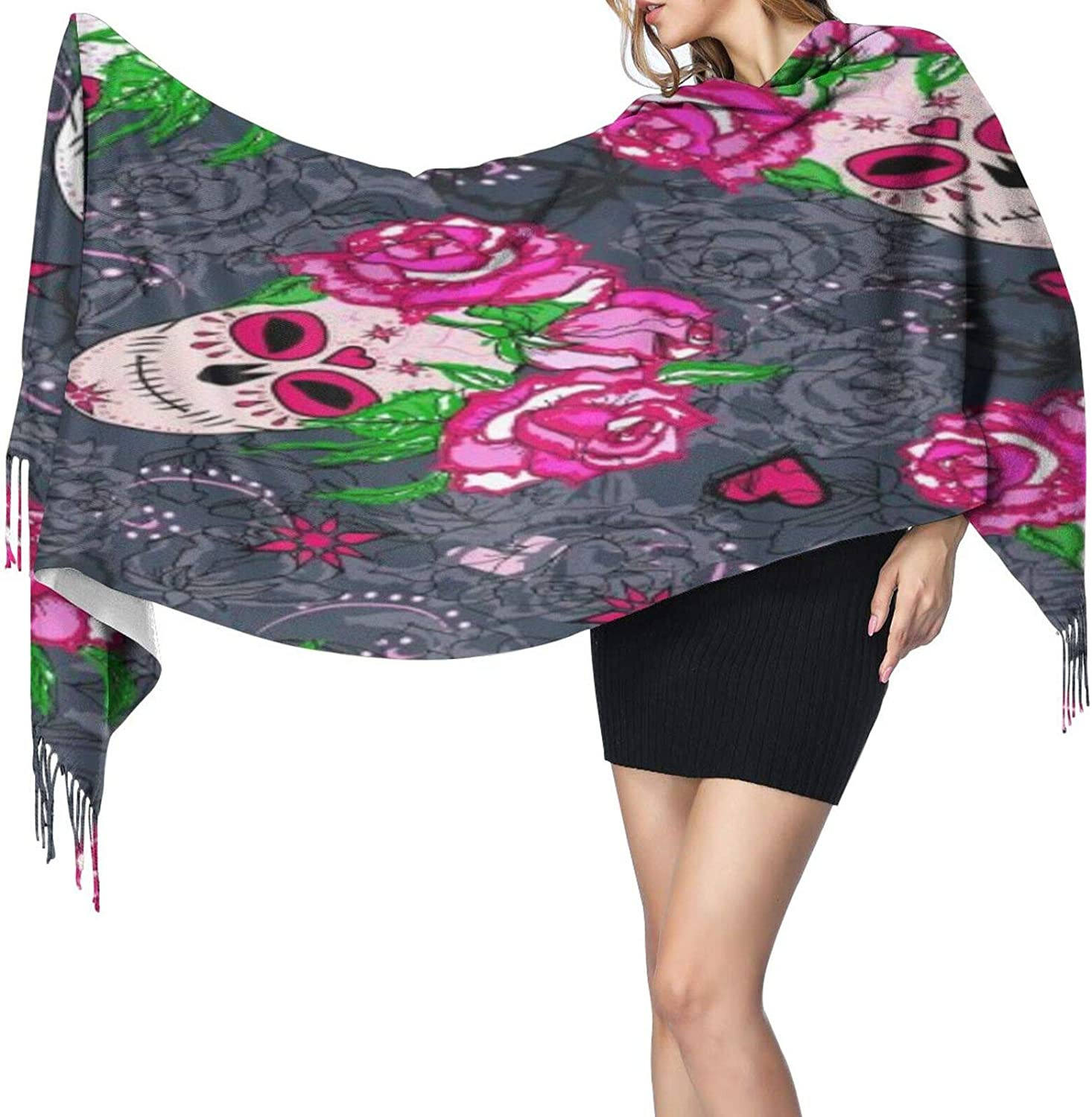 Cashmere fringed scarf Sugar Skull and Pink Roses winter extra large scarf