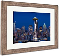 Ashley Framed Prints Seattle Skyline at Dusk, Wall Art Home Decoration, Color, 34x40 (Frame Size), Rustic Barn Wood Frame, AG6539791