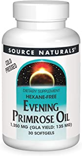 Source Naturals Evening Primrose Oil - Hexane-Free - 1350mg - GLA Yield: 135 mg - Cold-Pressed - 30 Softgels