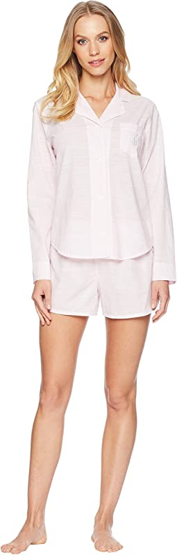 LAUREN Ralph Lauren Long Sleeve Notch Collar Boxer Pajama Set