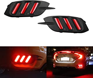 iJDMTOY JDM Style Red Lens LED Bumper Reflector Lamps For 16-up Honda Civic Sedan, Function as Tail, Brake & Rear Fog Lights