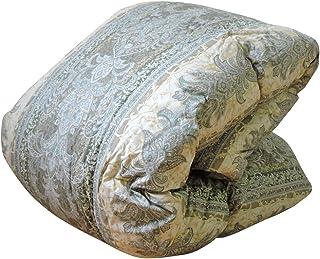 眠り姫 日本製 羽毛布団 ポーランド産 ホワイトマザーダックダウン 93% シングルロング おまかせ柄 ブルー・グリーン系 150×210cm 400dp かさ高165mm以上 60サテン 増量