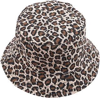 Yinew, berretto pieghevole da pescatore con motivo leopardo, cappello a secchiello per esterni, protezione dal sole