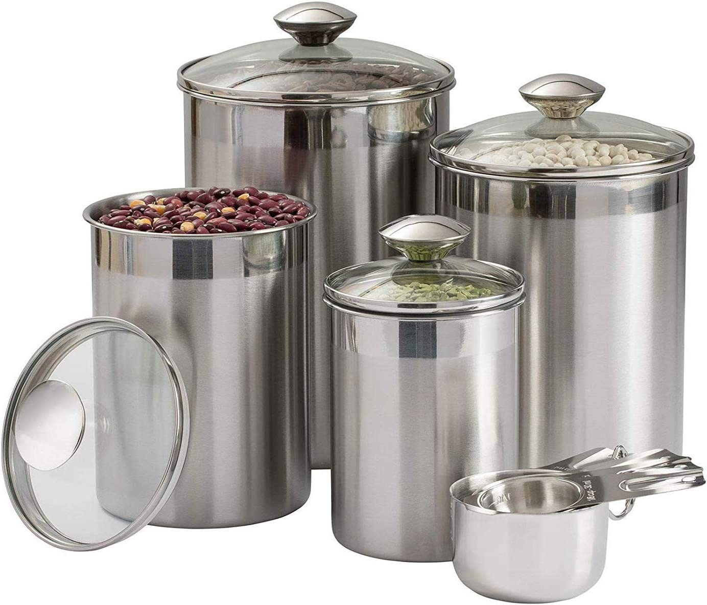Beautiful Canisters Sets For The Kitchen Counter 8 Piece Stainless Steel Medium Sized With Glass Lids And Measuring Cups Silveronyx Tea Coffee Sugar Flour Canisters 8pc Glass Lids Amazon Co Uk Home