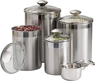 Beautiful Canisters Sets for the Kitchen Counter, 8-Piece Stainless Steel, Medium Sized with Glass Lids and Measuring Cups...