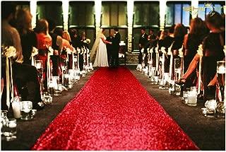ShinyBeauty 4FTX15FT-Sequin Aisle Runner-Red Sparkly Carpet Runner for Wedding/Christmas /Thanksgiving Decor