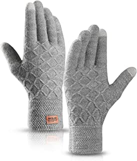 Handoos Winter Knit Gloves Touchscreen Textured Zig Zag Knit Plush Warm Lining