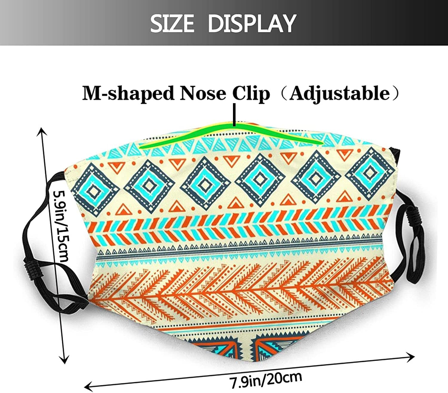 African Tribal Art Face Mask, Fashion Reusable Washable Balaclava with 2 Filter, for Women Men Adult