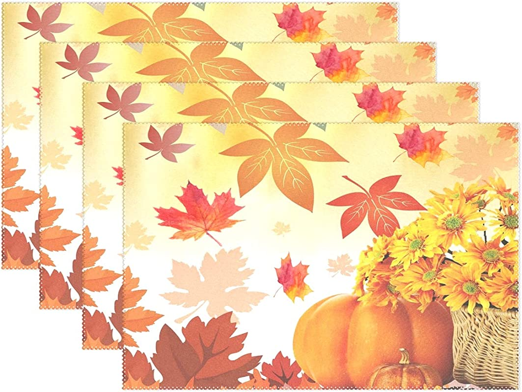 Sunflower Maple Leaves Pumpkin Autumn Fall Placemats Set Of 6 Table Mat Happy Thanksgiving Day Turkey Give Thanks Table Mat Placemat Heat Resistant Stain Washable For Kitchen Decoration 12 X 18