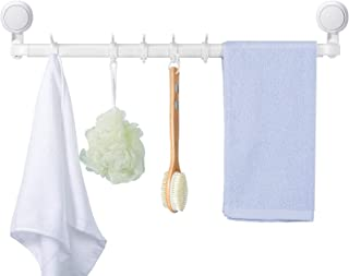 Urbanstrive 21-Inch 10-Towel Suction Cup Bathroom Towel Bar Bath Wall Shelf Towel Rack Hanging Towel Hanger Contemporary S...