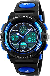 Kids Outdoor Sports Children's Waterproof Wrist Dress Watch with LED Digital Alarm Stopwatch Lightweight Silicone for Boy Girl (Blue)