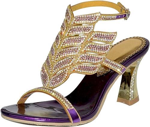 SYYAN Femmes Cuir Strass Cristal Bout Bout Ouvert Robe Sandales Or Violet, violet, 39  jusqu'à 34% de réduction sur tous les produits