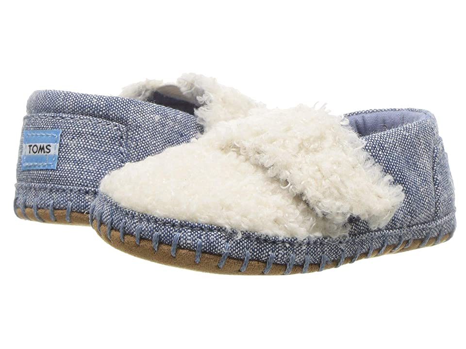 TOMS Kids Crib Alpargata (Infant/Toddler) (Natural Faux Shearling/Chambray) Kid