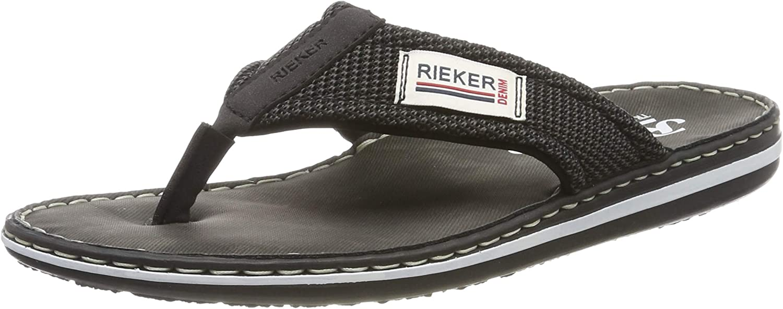 Rieker Men's 21089-00 Flip Flops, Black (Schwarz/Grau-Schwarz 00), 8 UK
